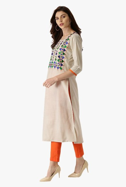 Libas Off White Embroidered Cotton Kurta