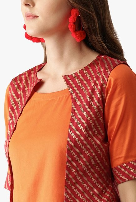 Libas Orange Printed Cotton Kurta With Jacket