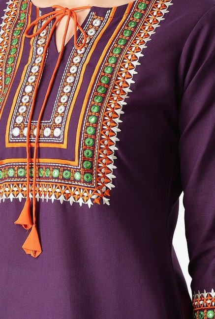 Libas Purple Embroidered Cotton Straight Kurta