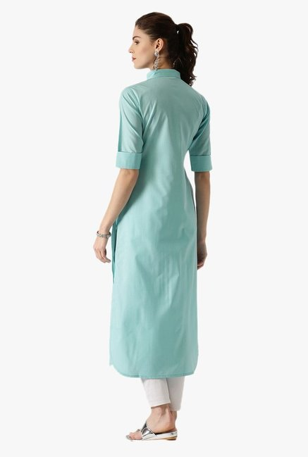 Libas Blue Regular Fit Cotton Pathani Kurta