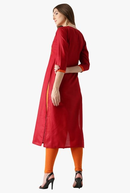 Libas Red Embroidered Cotton Straight Kurta