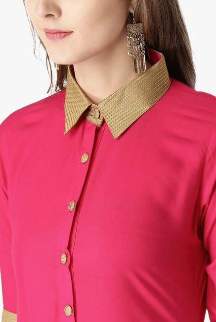Libas Pink Regular Fit Rayon Kurta