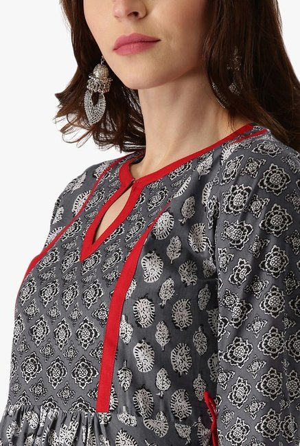 Libas Grey Printed Cotton Anarkali Kurta