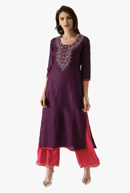 Libas Purple Embroidered Cotton Kurta