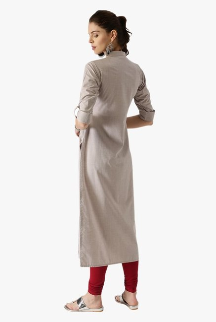Libas Grey Textured Cotton Straight Kurta
