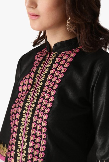 Libas Black Printed Cotton Kurta With Palazzo
