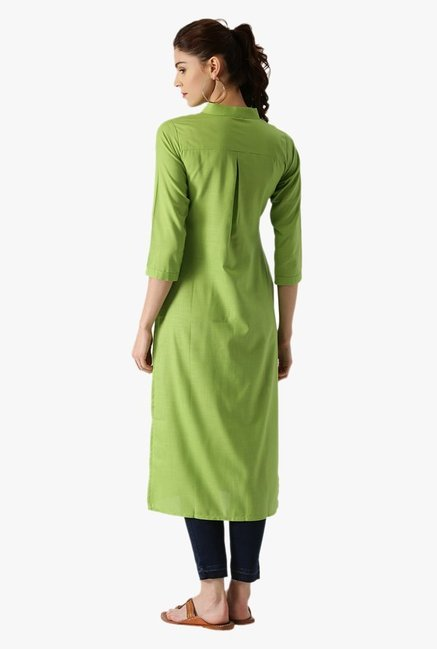 Libas Green Regular Fit Cotton Straight Kurta