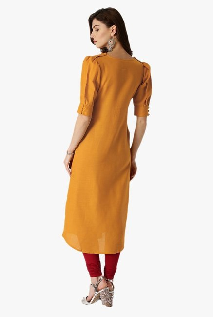 Libas Yellow Regular Fit Cotton Straight Kurta