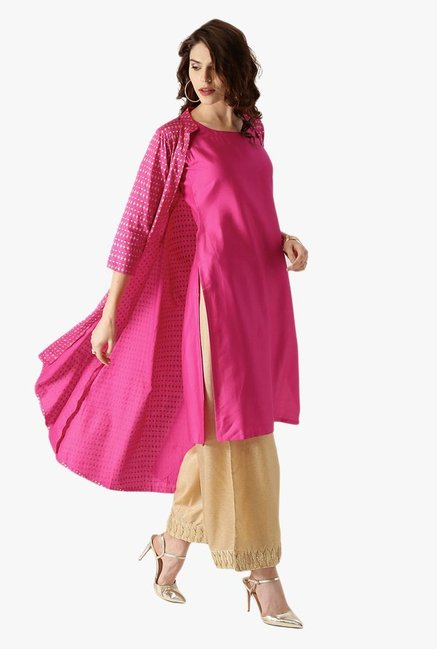 Libas Pink Printed Cotton Kurta With Jacket