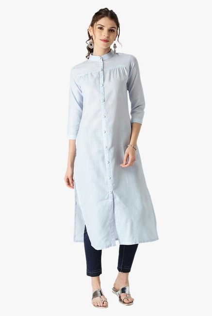 Libas Blue Regular Fit Cotton Straight Kurta
