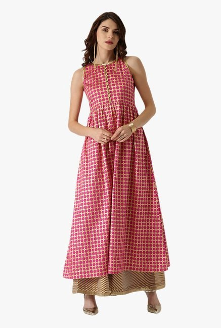 Libas Pink Printed Cotton Anarkali Kurta
