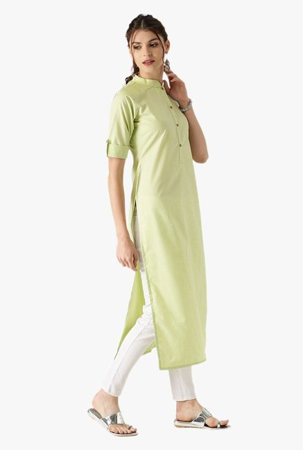 Libas Green Textured Cotton Straight Kurta