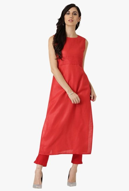 Libas Red Regular Fit Cotton Kurta