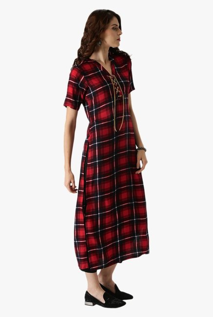 Libas Red & Black Checks Rayon Straight Kurta