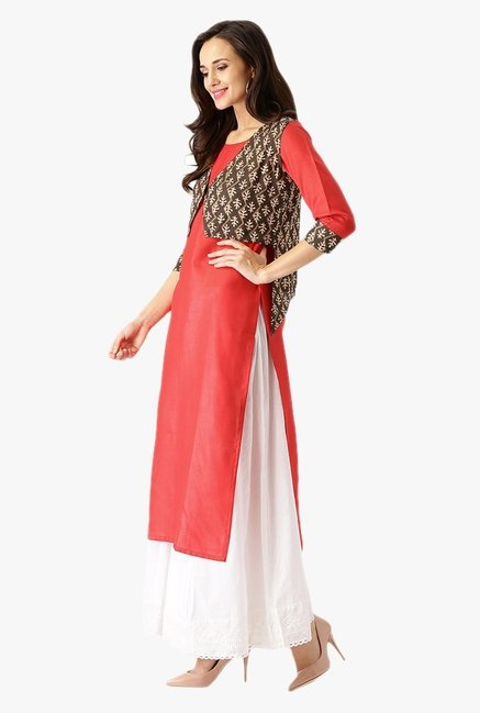 Libas Red & Brown Printed Cotton Kurta With Jacket