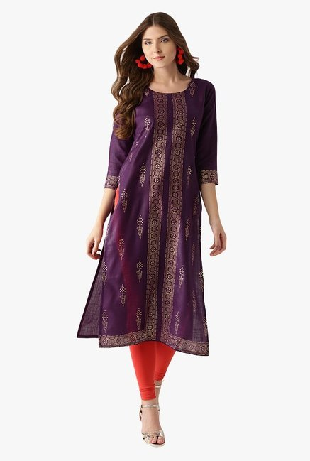 Libas Purple Printed Cotton Straight Kurta