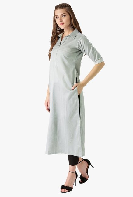 Libas Grey Striped Cotton Straight Kurta