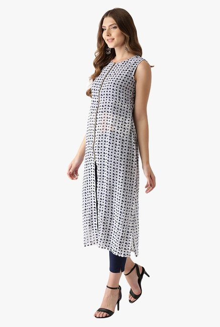 Libas Off White & Navy Printed Polyester A-Line Kurta