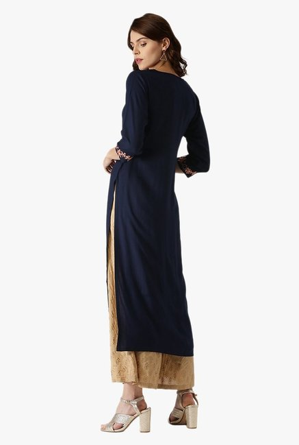 Libas Navy Embroidered Rayon Kurta