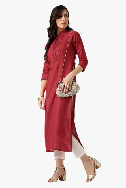 Libas Maroon Regular Fit Cotton Kurta