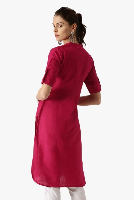 Libas Pink Regular Fit Cotton Pathani Kurta