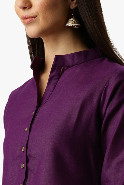 Libas Purple Textured Cotton Kurta