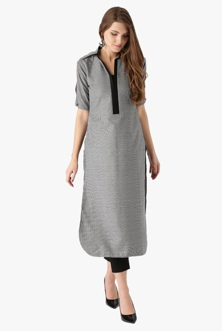 Libas Black & White Checks Cotton Pathani Kurta