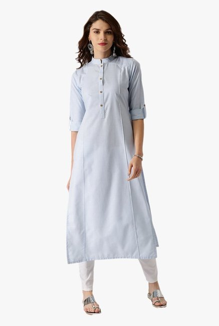 Libas Blue Textured Cotton Straight Kurta