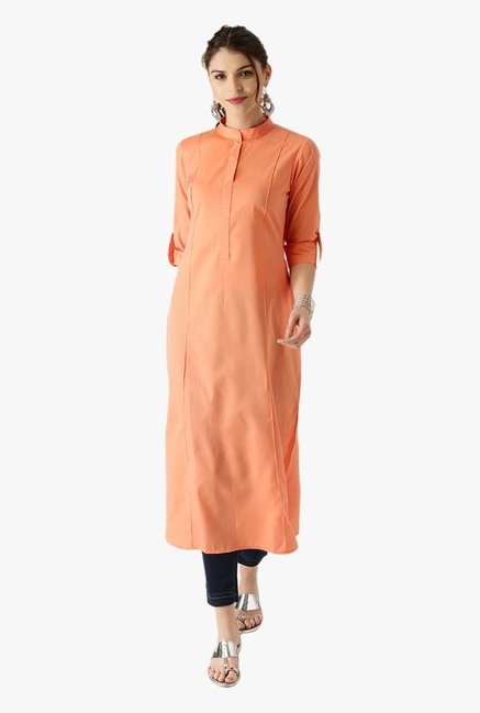 Libas Orange Striped Cotton Pathani Kurta