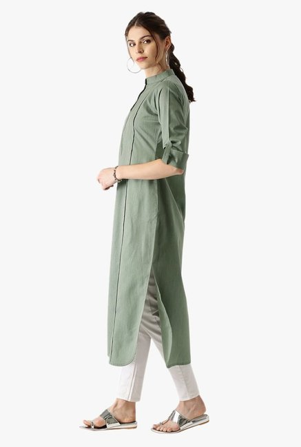 Libas Green Striped Cotton Pathani Kurta