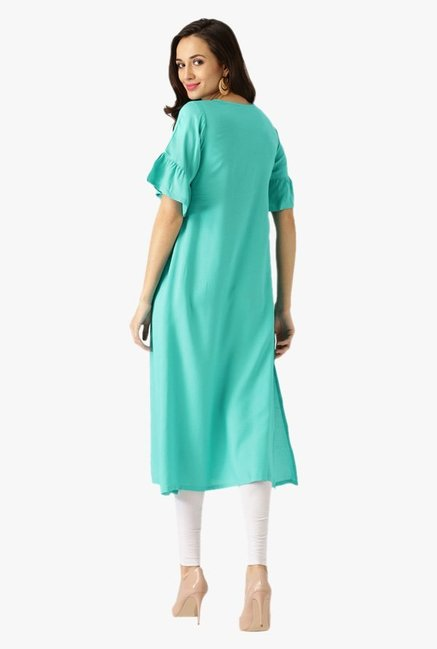 Libas Turquoise Regular Fit Rayon Kurta