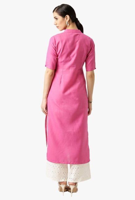 Libas Pink Textured Cotton Kurta