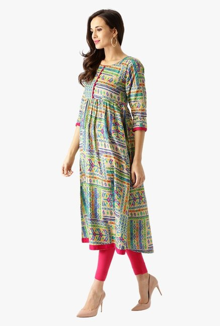 Libas Multicolor Printed Cotton Kurta