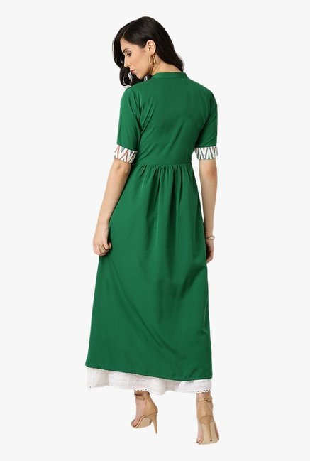 Libas Green Regular Fit Polyester Kurta