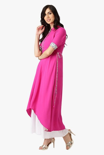 Libas Pink Regular Fit Polyester Kurta