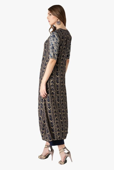 Libas Beige & Navy Printed Cotton Kurta With Jacket