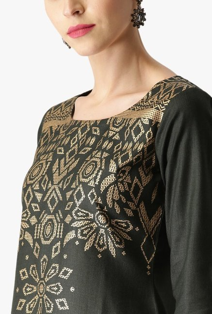 Libas Green Printed Cotton Kurta With Palazzo