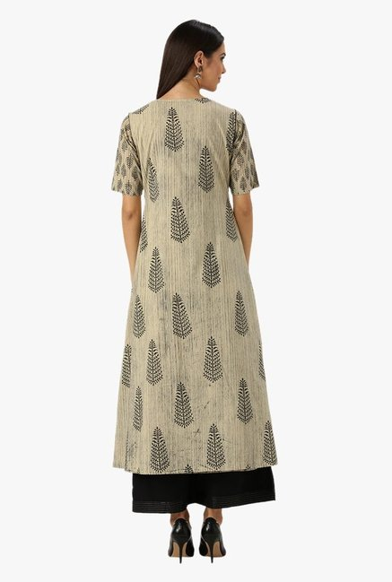 Libas Beige Printed Cotton Kurta With Jacket