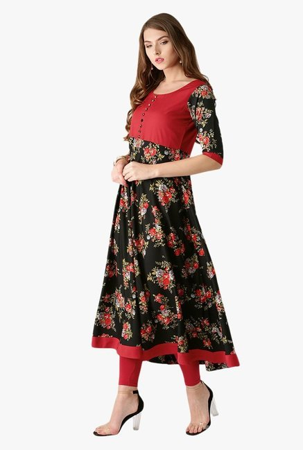 Libas Black & Red Floral Print Polyester Kurta