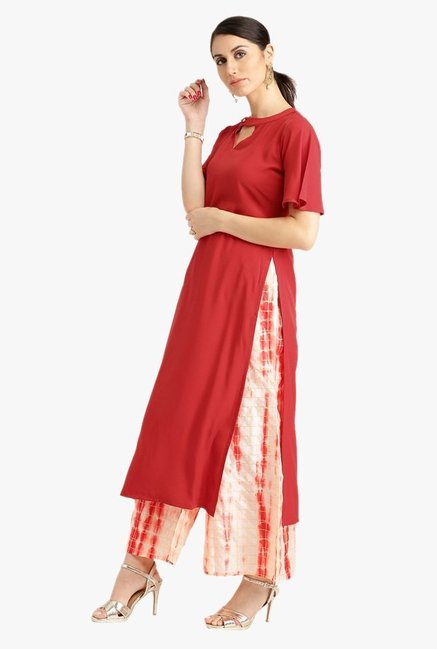 Libas Red & Off White Crepe Kurta With Printed Palazzo
