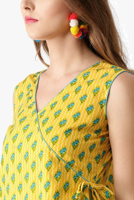 Libas Yellow Floral Print Cotton Kurta