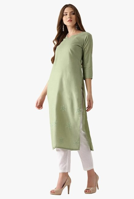 Libas Green Embroidered Cotton Straight Kurta