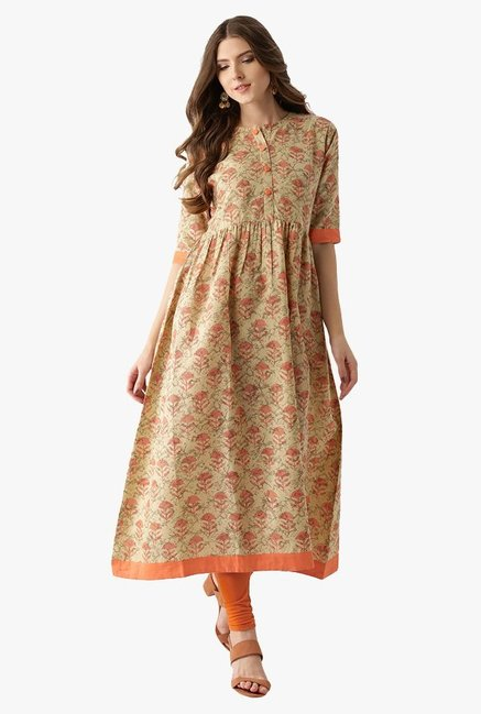 Libas Beige Printed Cotton Anarkali Kurta