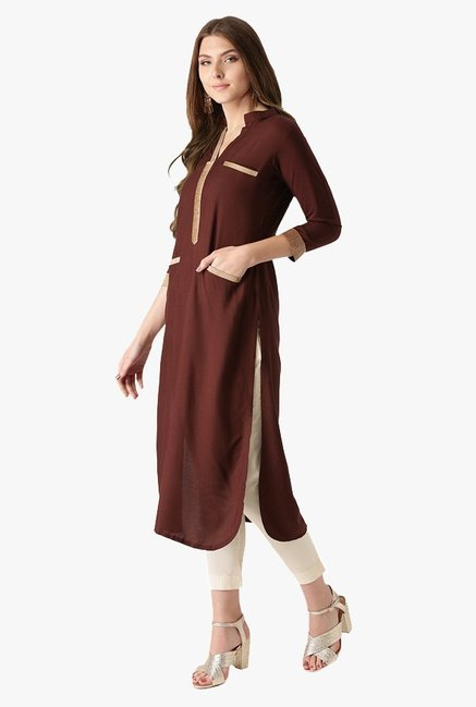 Libas Brown Regular Fit Rayon Pathani Kurta
