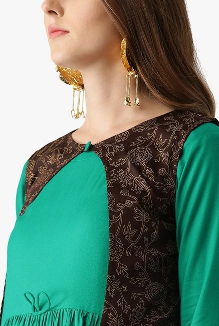 Libas Green Printed Rayon Anarkali Kurta With Jacket