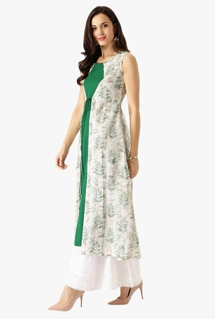 Libas Green & Off White Printed Cotton Kurta