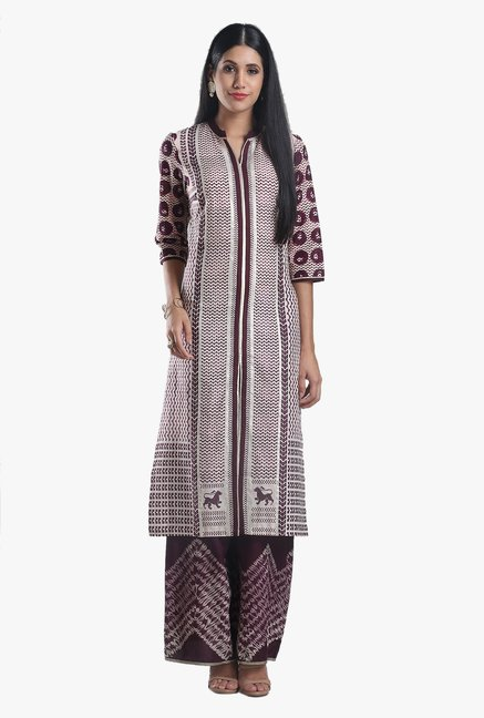W Wine & Off White Printed Cotton Kurta