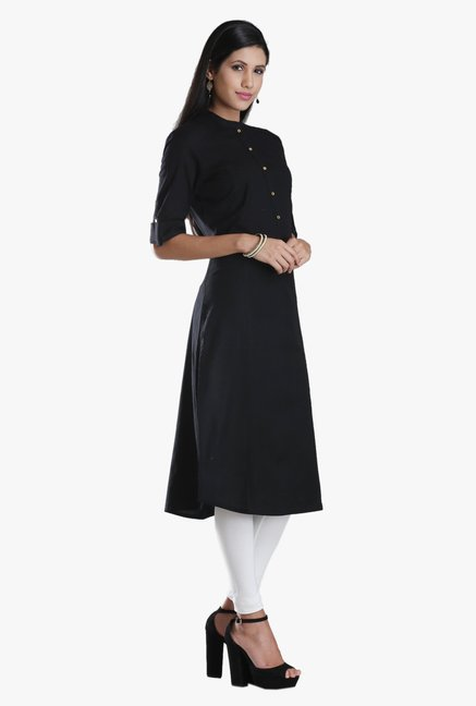 W Black Regular Fit Cotton Kurta