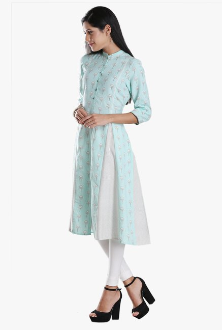 W Blue Printed Viscose Kurta