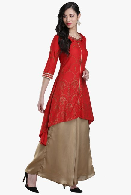 W Red Printed Viscose Kurti